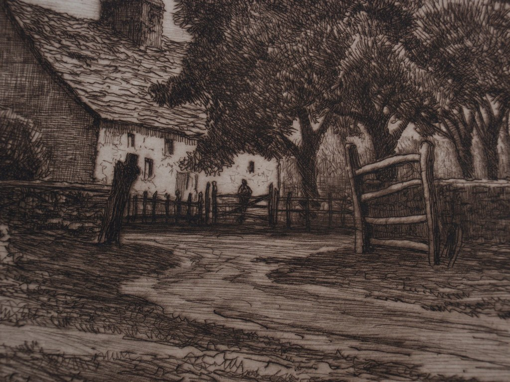 Etching Tamarack Farm by Charles Mielatz 1899