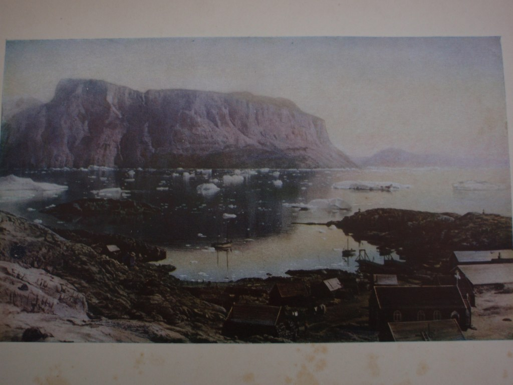 Color print of an early Umanak sailing expedition circa 1880