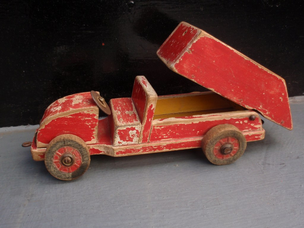 Modernist wooden toy dump truck 1930