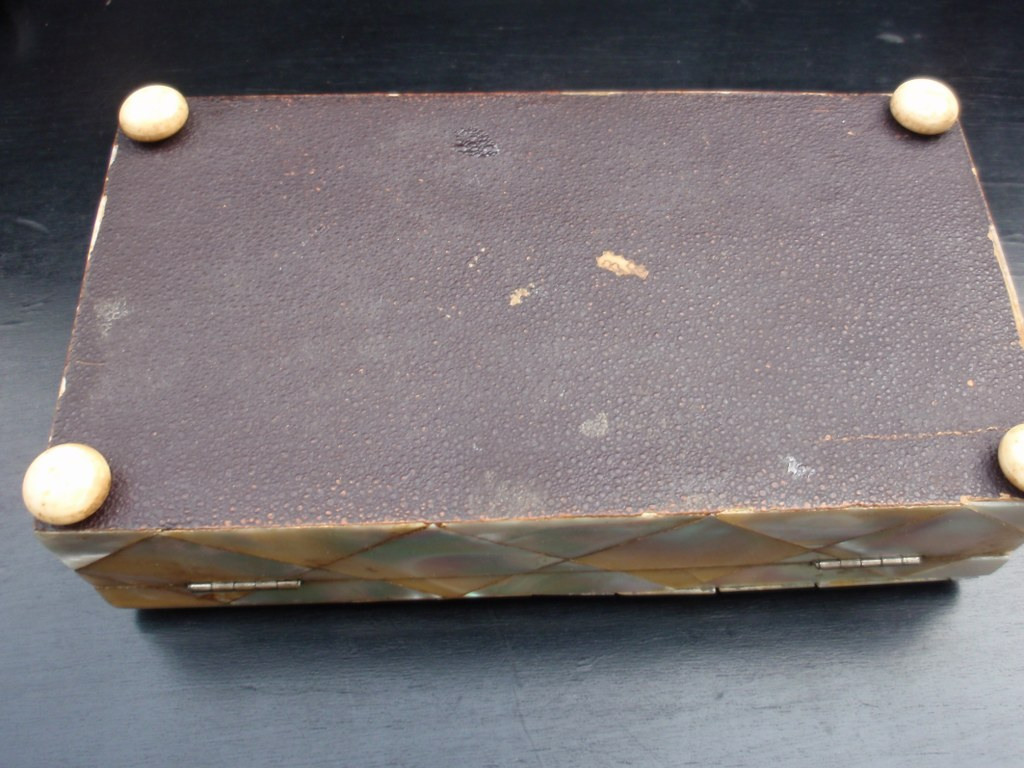 Antique spoon box mother of pearl