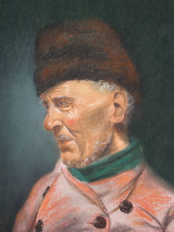 Chalk drawing H van Wijngaarden of fisherman from Volendam
