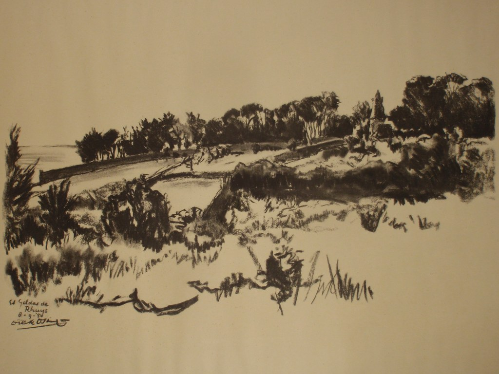 Dick Osinga  charcoal drawing St Gildas de Rhuys 1950
