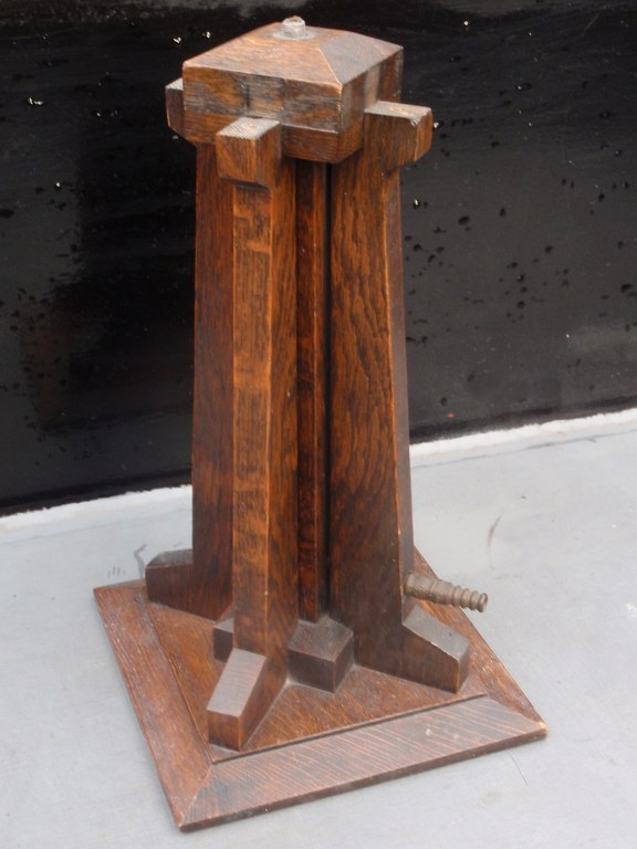Dutch wooden art deco base for gas light