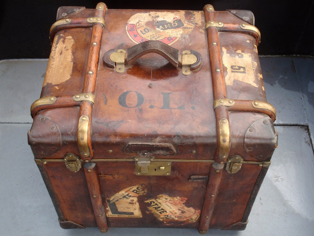 RARE Leather cube travel steamer half trunk