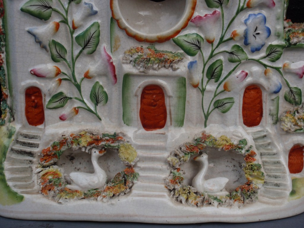 Staffordshire Castle Watchholder with swan mounts 1860
