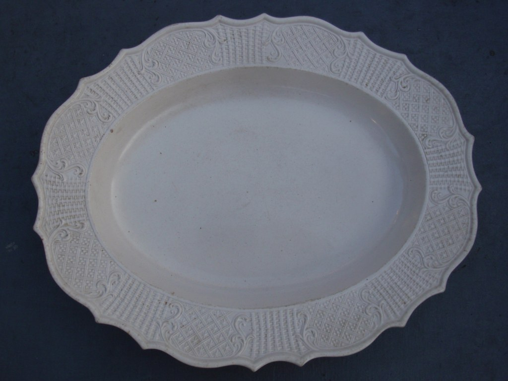 1760's Staffordshire white salt glazed oval dish