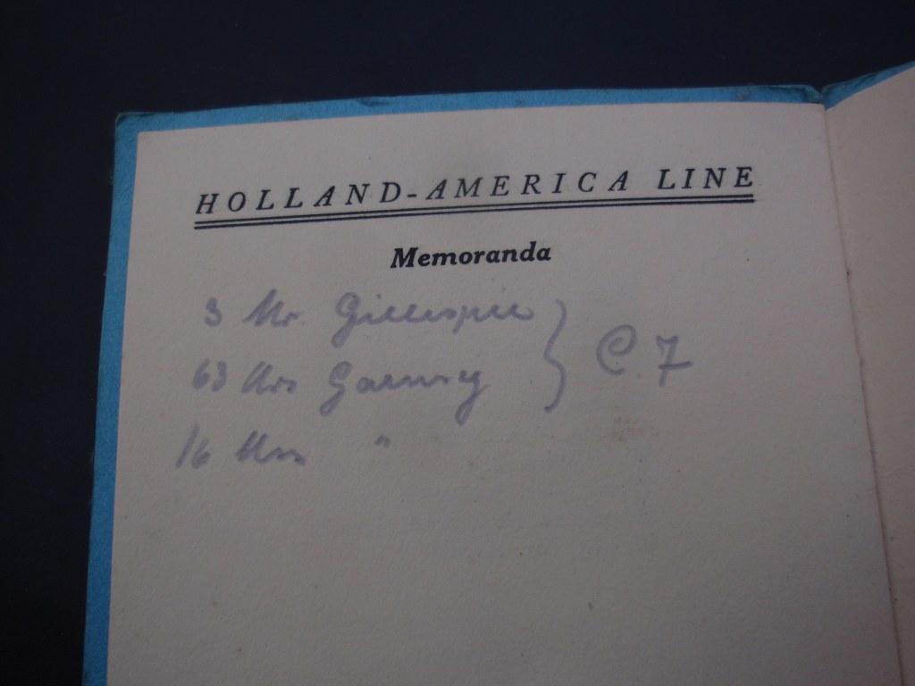 Passenger list Mediterranean Cruise SS Rotterdam 1931