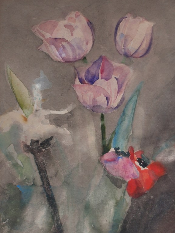 Watercolor flowers by C.A. Lion Cachet 1940-45
