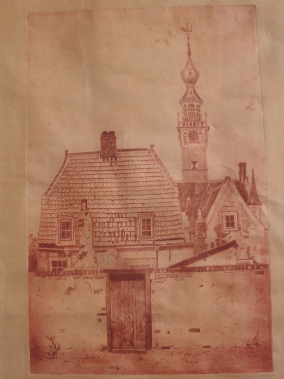 Etching Ton Meijer church tower Veere 1926