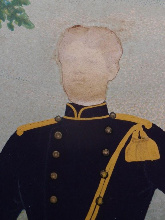 Fotomontage Nederlandse infantarist in groot tenue 1890
