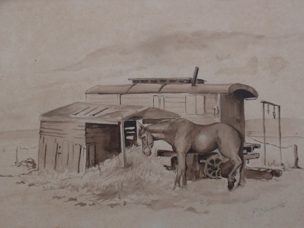 Pen and ink drawing blacksmith's caravan by Paul Erkelens