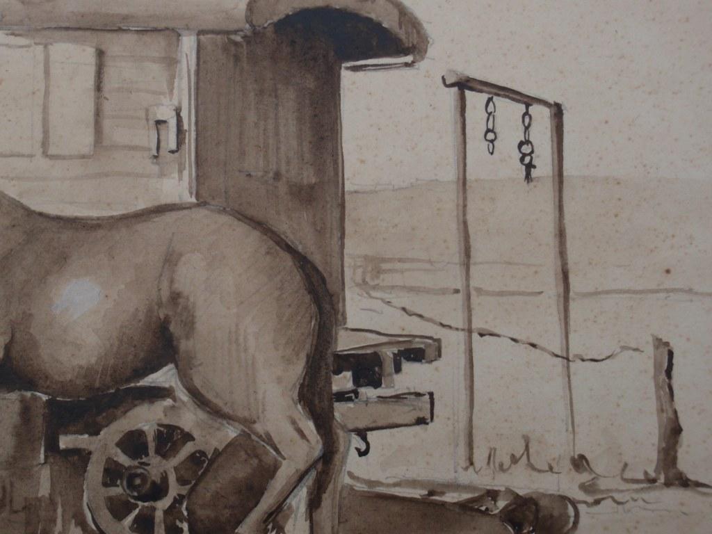 Pen and ink drawing blacksmith's caravan by Paul Erkelens