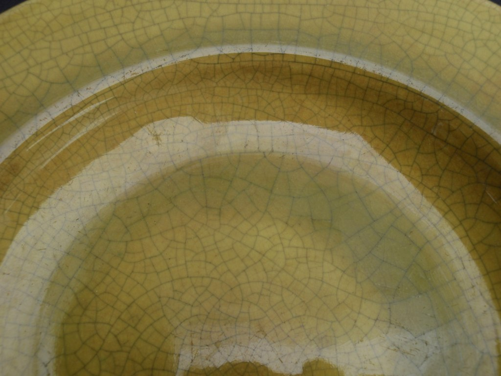 Plate Plateelfabriek Zuid-Holland with yellow craquelé glaze 1960