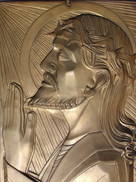 Bronze art deco plaque Jesus with Crown of thorns