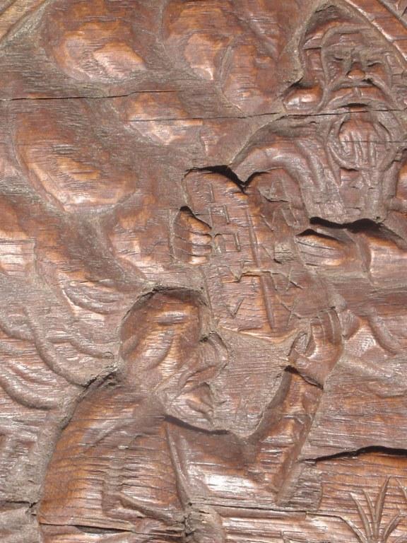 Dutch folk art oak panel of Mozes receiving the ten commandments