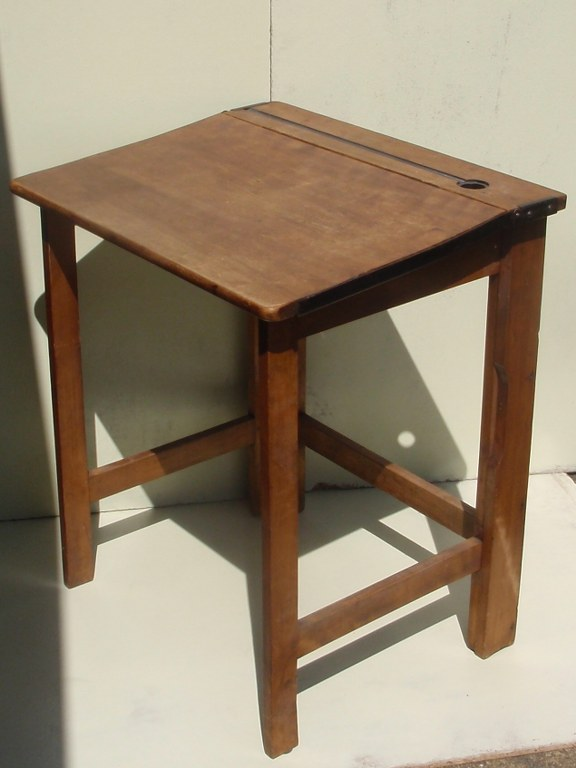 Foldable oak writing desk