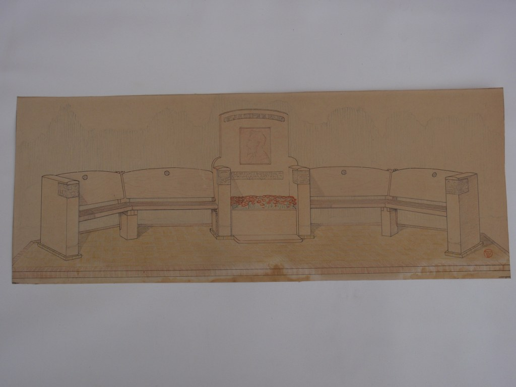 Design Tjipke Visser for monumental bench 1929