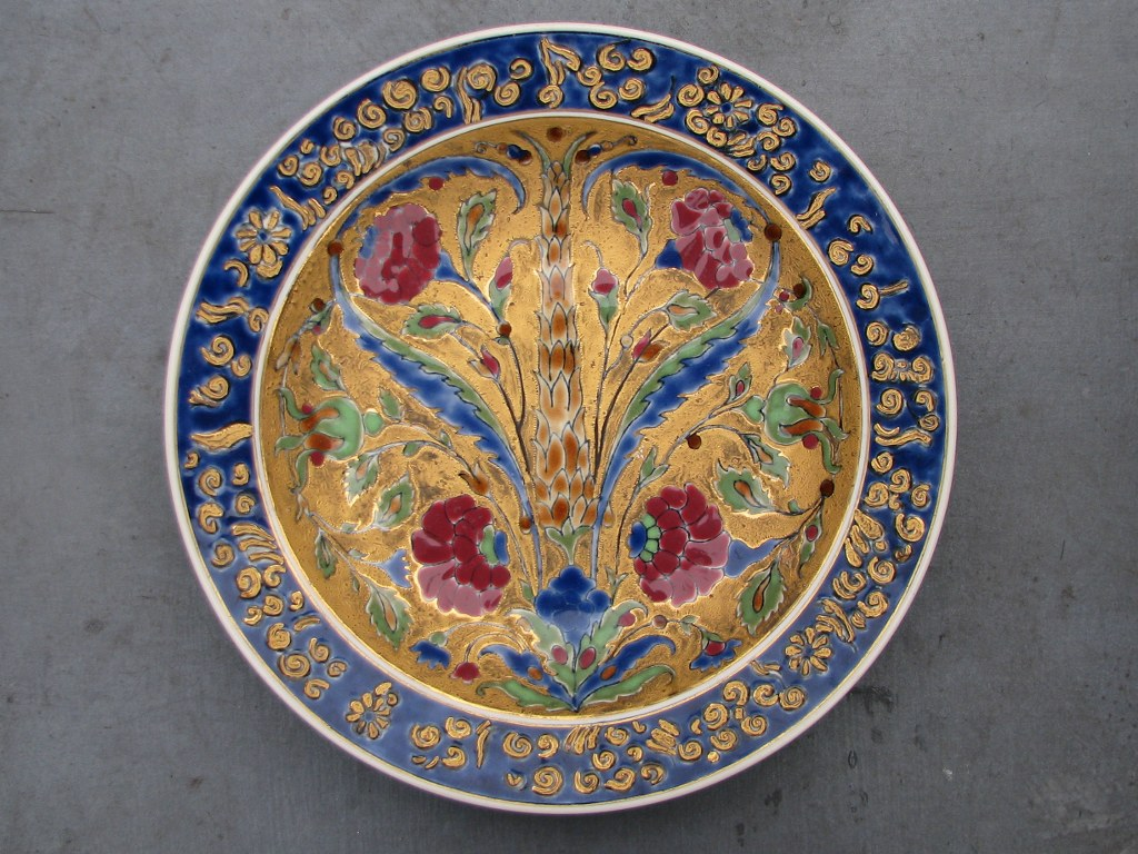 Early Zsolnay dish with Persian motifs-1