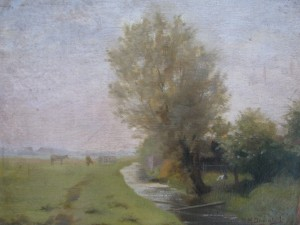 Landscape with cows by Dievenbach 1896-3