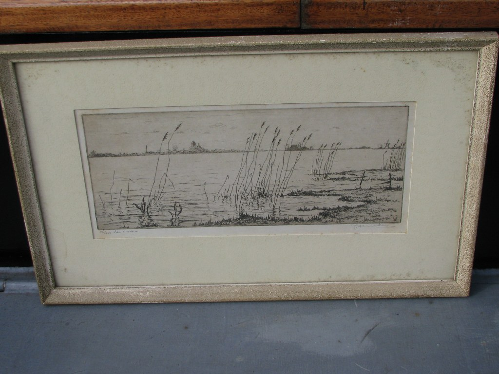 Etching with view on Grou by Johan Hemkes 1934-1