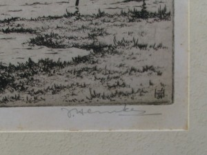 Etching with view on Grou by Johan Hemkes 1934-3