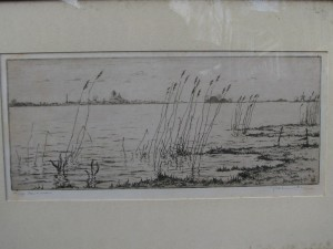 Etching with view on Grou by Johan Hemkes 1934-5