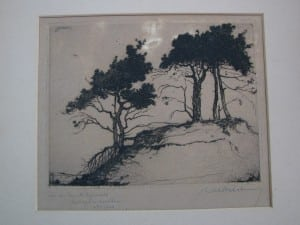 Etching Trees on a sand hill by Dirk Baksteen 1923-1