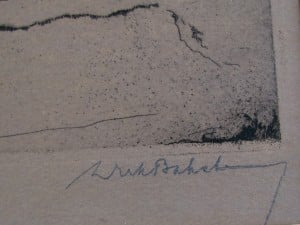 Etching Trees on a sand hill by Dirk Baksteen 1923-3