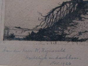 Etching Trees on a sand hill by Dirk Baksteen 1923-4