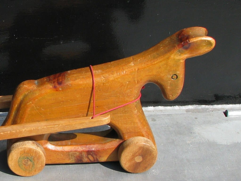 Fifites swiss toy wooden pull donkey with cart by Antonio Vitali