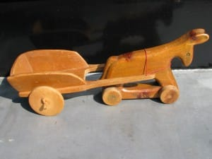 Fifties swiss toy wooden pull donkey with cart by Antonio Vitali-1