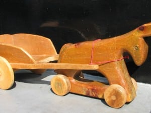 Fifties swiss toy wooden pull donkey with cart by Antonio Vitali-2