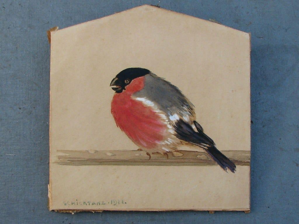 Aquarel rode vink door Carl Schicktanz 1922-1