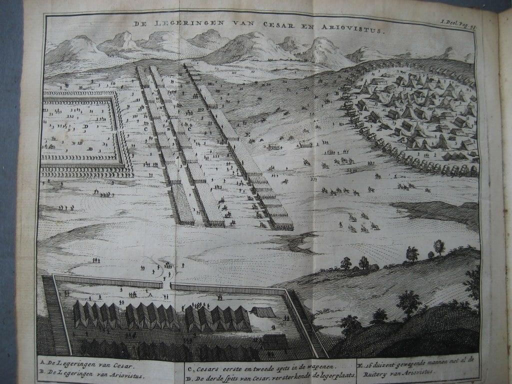 Aantekeningen der Gallische, Burgerlyke, Alexandrynsche, Africaansche, en Hispanische oorlogen door Julius Ceasar 1709-6