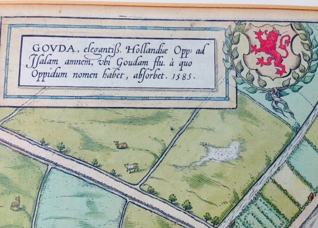 Chart of the Dutch city Gouda by Braun en Hogenberg 1585-1