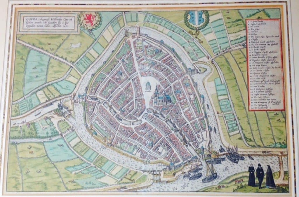 CHART OF THE DUTCH CITY GOUDA BY BRAUN & HOGENBERG 1585