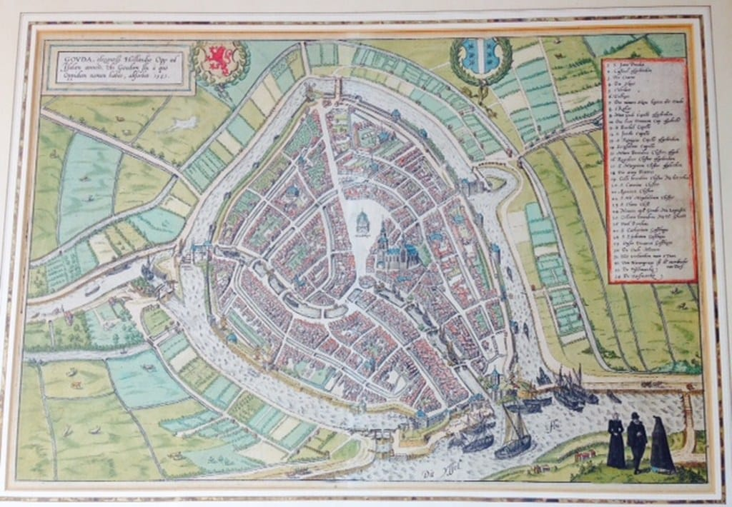 Chart of the Dutch city Gouda by Braun en Hogenberg 1585-2
