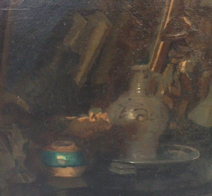 EARLY STILL LIFE WITH HIDDEN SELF PORTRAIT BY KEES VAN URK