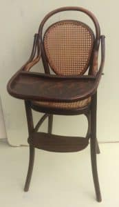 Thonet child's high table chair with meshwork in seat and back-4