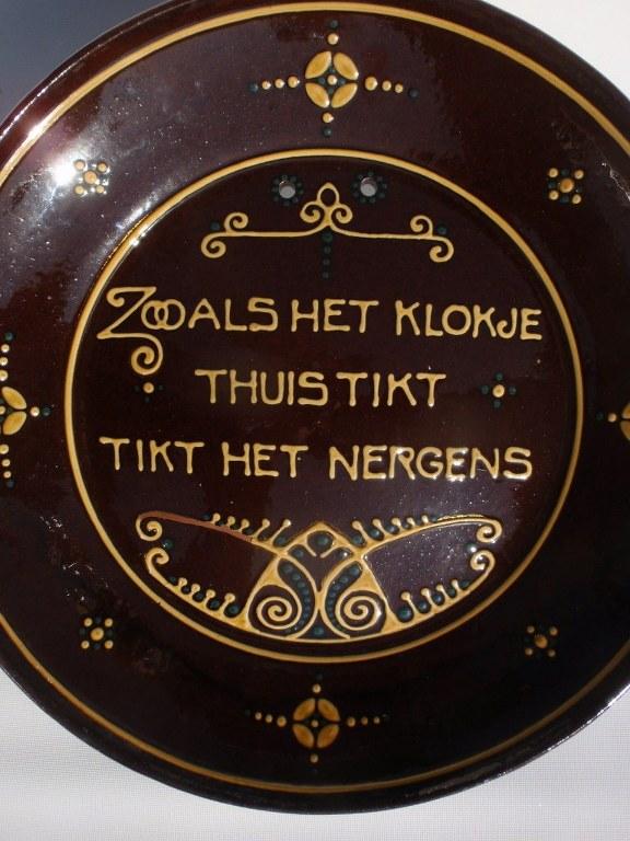 Spreukbord 'Zooals het klokje … ' van Amstelhoek