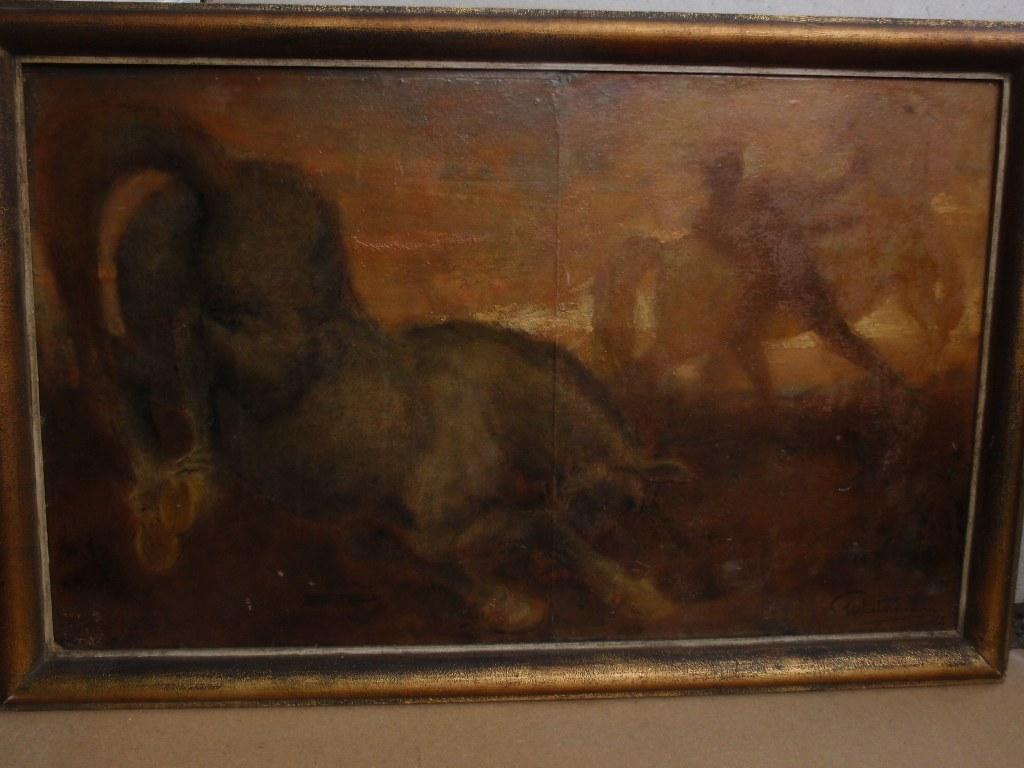 Olieverf Man met twee paarden door Gerard Westermann
