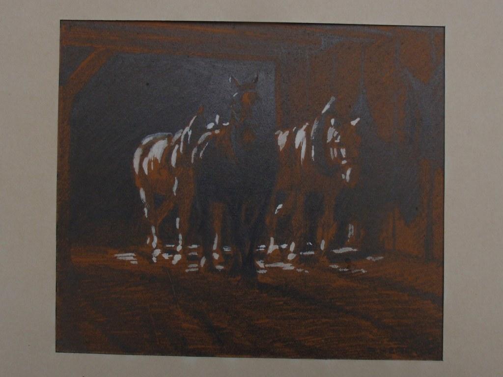 Richard Herdtle Drei Pferde auf dem Weg in den Stall