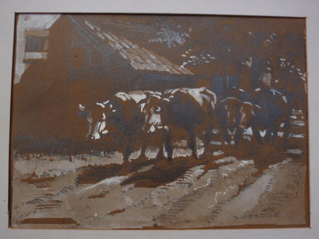 Richard Herdtle Ochsen auf dem Weg in den Stall