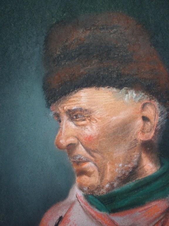 Chalk drawing H van Wijngaarden of fisherman from Volendam