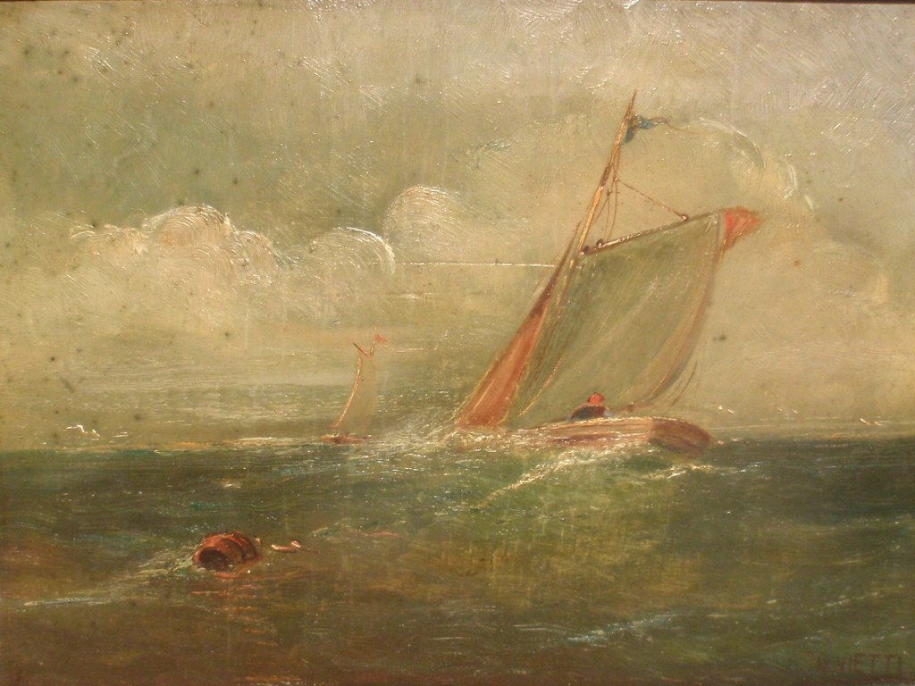 Sea view with sailing ships by H. Vietti