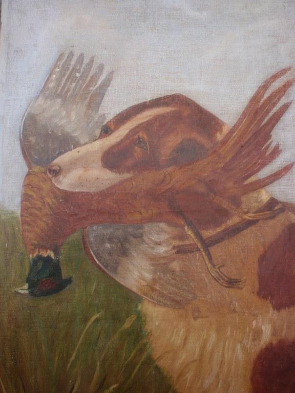 Dutch folk art Hound with pheasant 1923