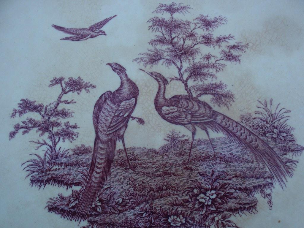 Large dish Wedgwood Etruria Purple Pheasants 1868