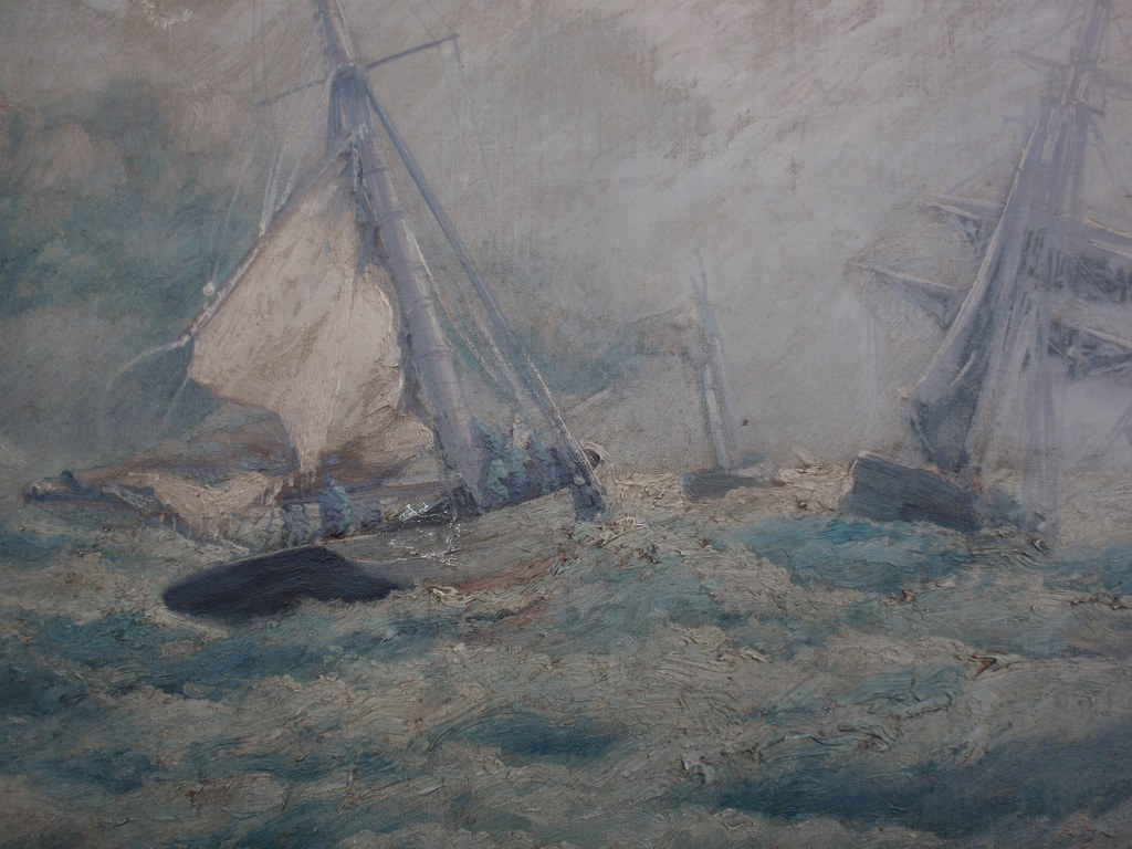 Sailing ships in heavy storm by Cassinelli 1889