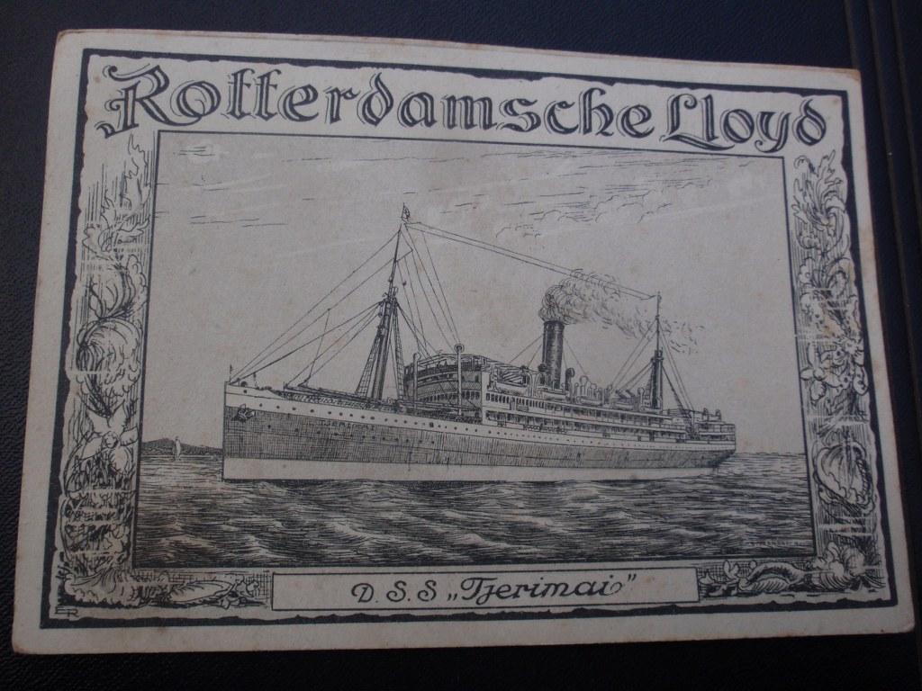 Menukaart Rotterdamse Lloyd SS Tjerimai 1924