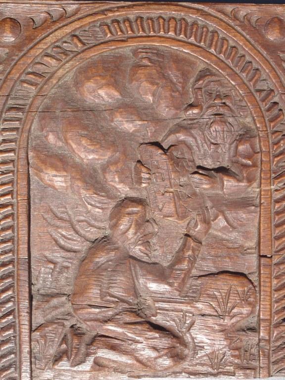 Dutch folk art oak panel of Moses receiving the ten commandments